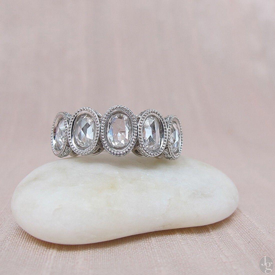2.07tcw Rose Cut Diamond 5-stone Band