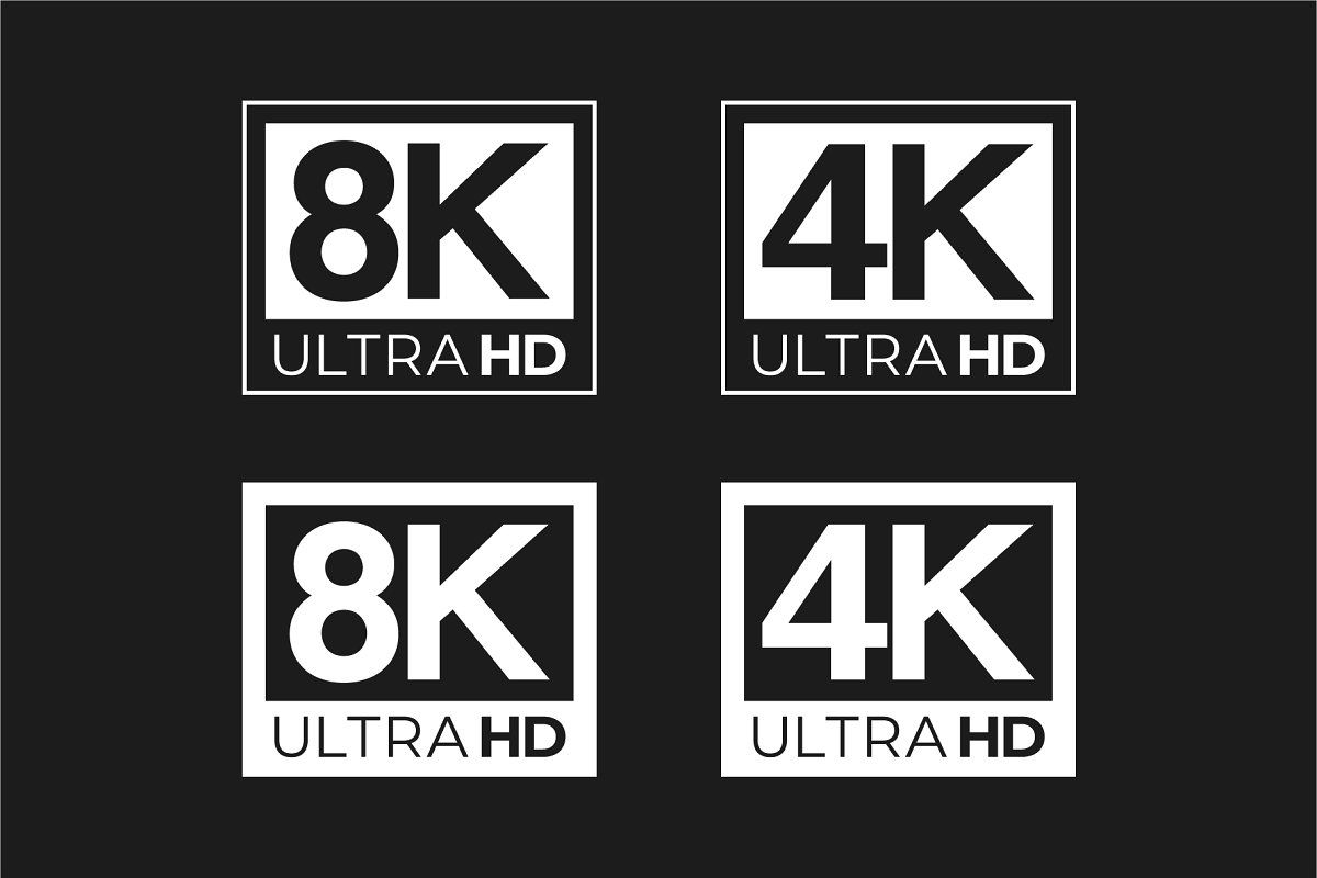 4k 8k Ultra Hd And Hdr Logo Set In 2020 Logo Set Logos Infographic Templates