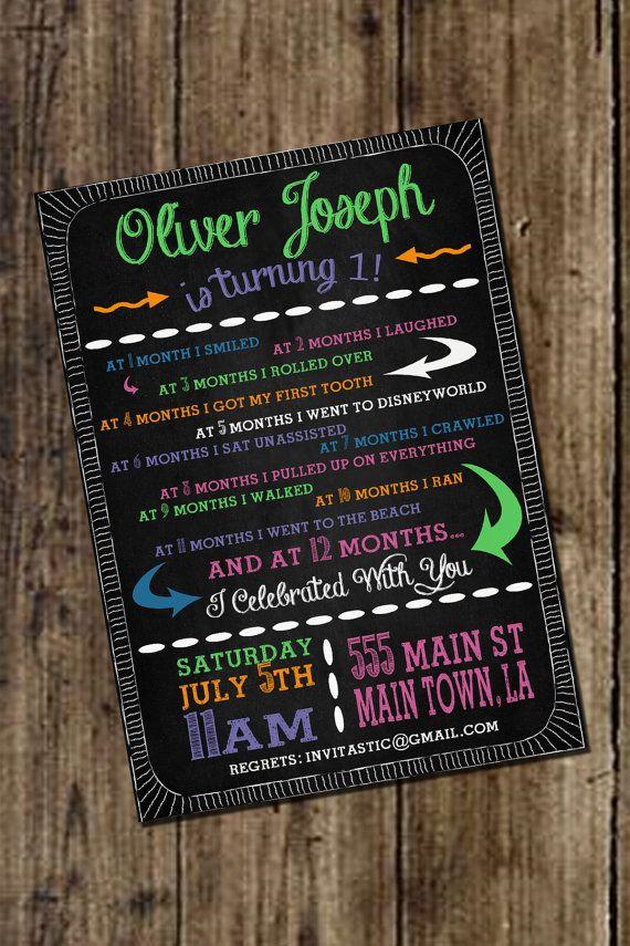 Milestone Chalkboard St Birthday Invitation  Generic St
