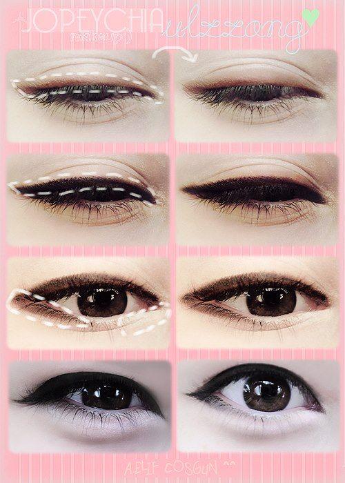 Korean Eyes Tutoriais Coreanos De Maquiagem Maquiagem Coreana Imagens De Maquiagem