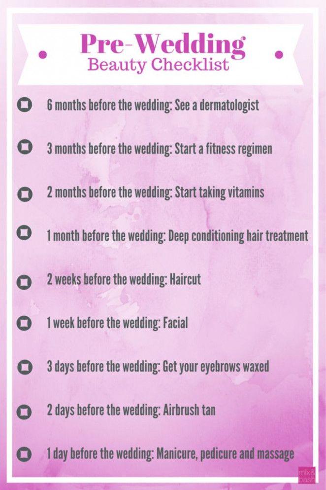 Pre Wedding Checklist Check Lists Pre Wedding Beauty Wedding Beauty Checklist Pre Wedding Beauty Checklist
