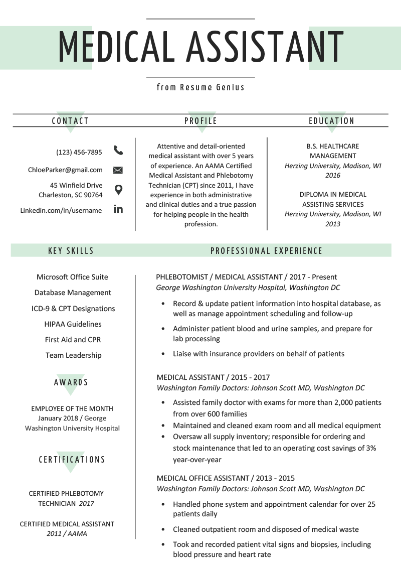 Medical Assistant Resume Sample & Writing Guide Resume