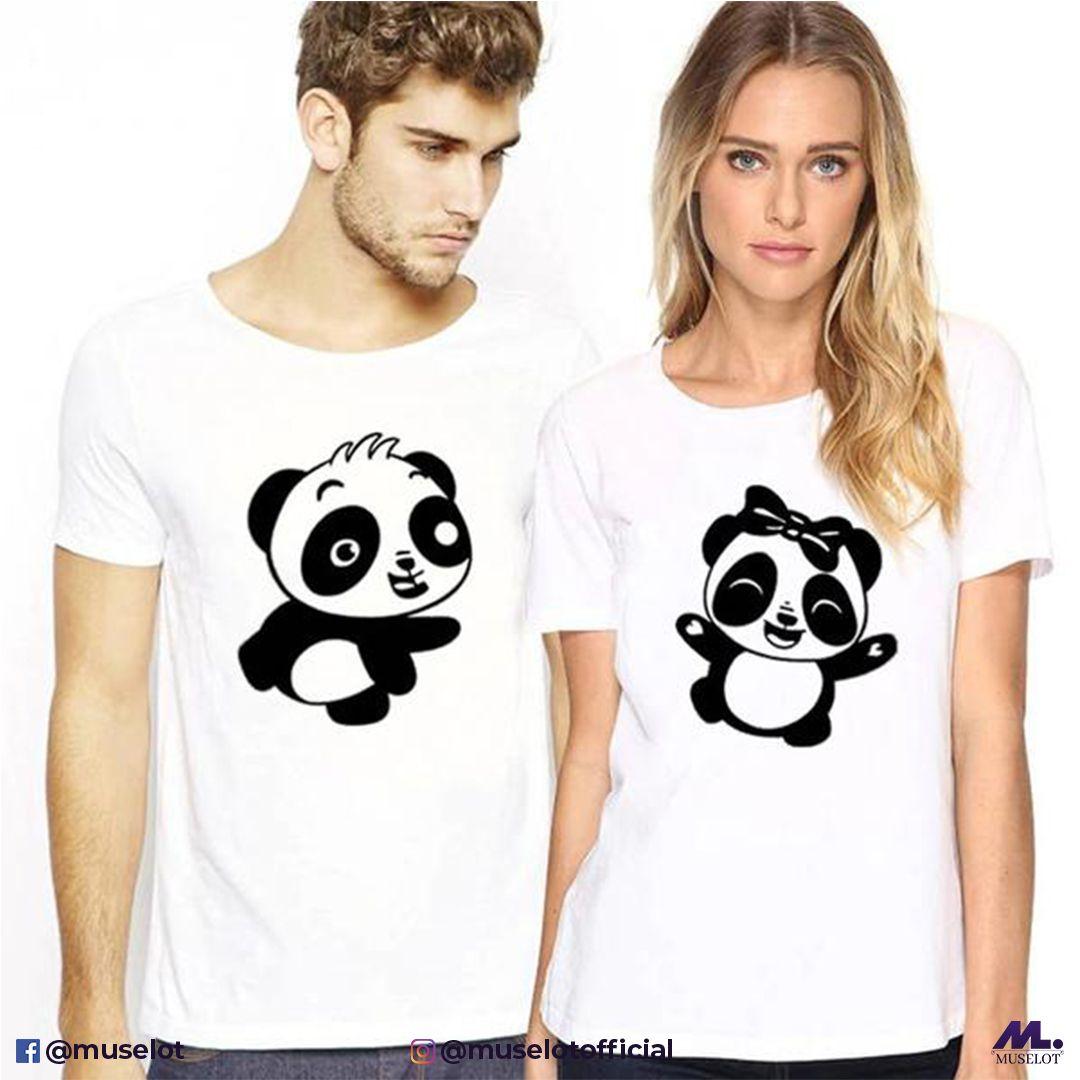 Luau Dress Panda Couple Outfits Funny Panda T-shirt and Dress Panda Print Couple Shirt and Dress Panda Pattern Hers Dress His Shirt