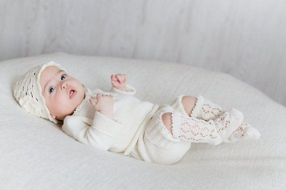 Handmade Baby Baptism Christening Gown 4 Piece Set Off White