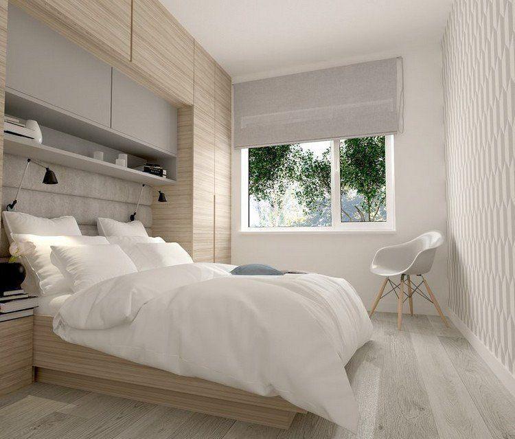Dressing Pour Petite Chambre Mural Bois Clair Blanc Amenagement
