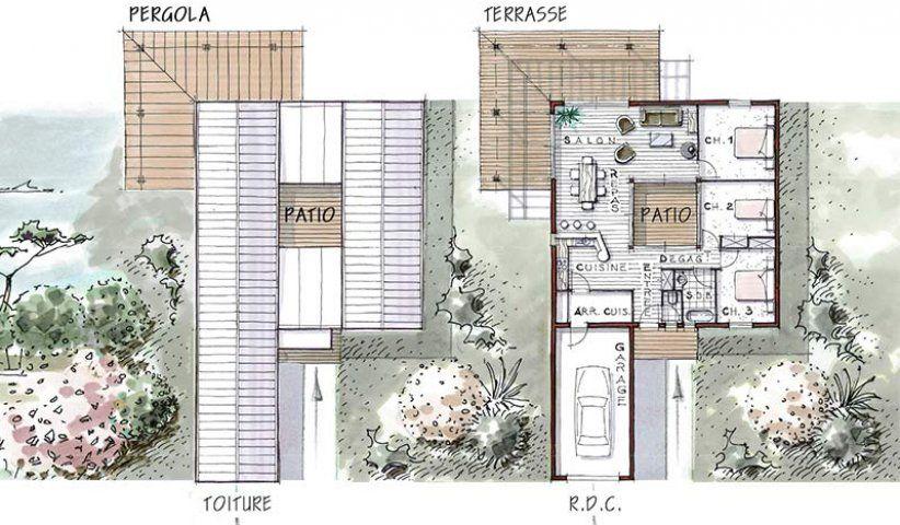 plan maison plain pied bois patio eos 96   Plan de maison avec patio, Plan maison bois, Maison