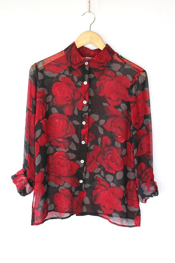 Vintage 80s Rose Floral Sheer Blouse Black And Red Rose Print