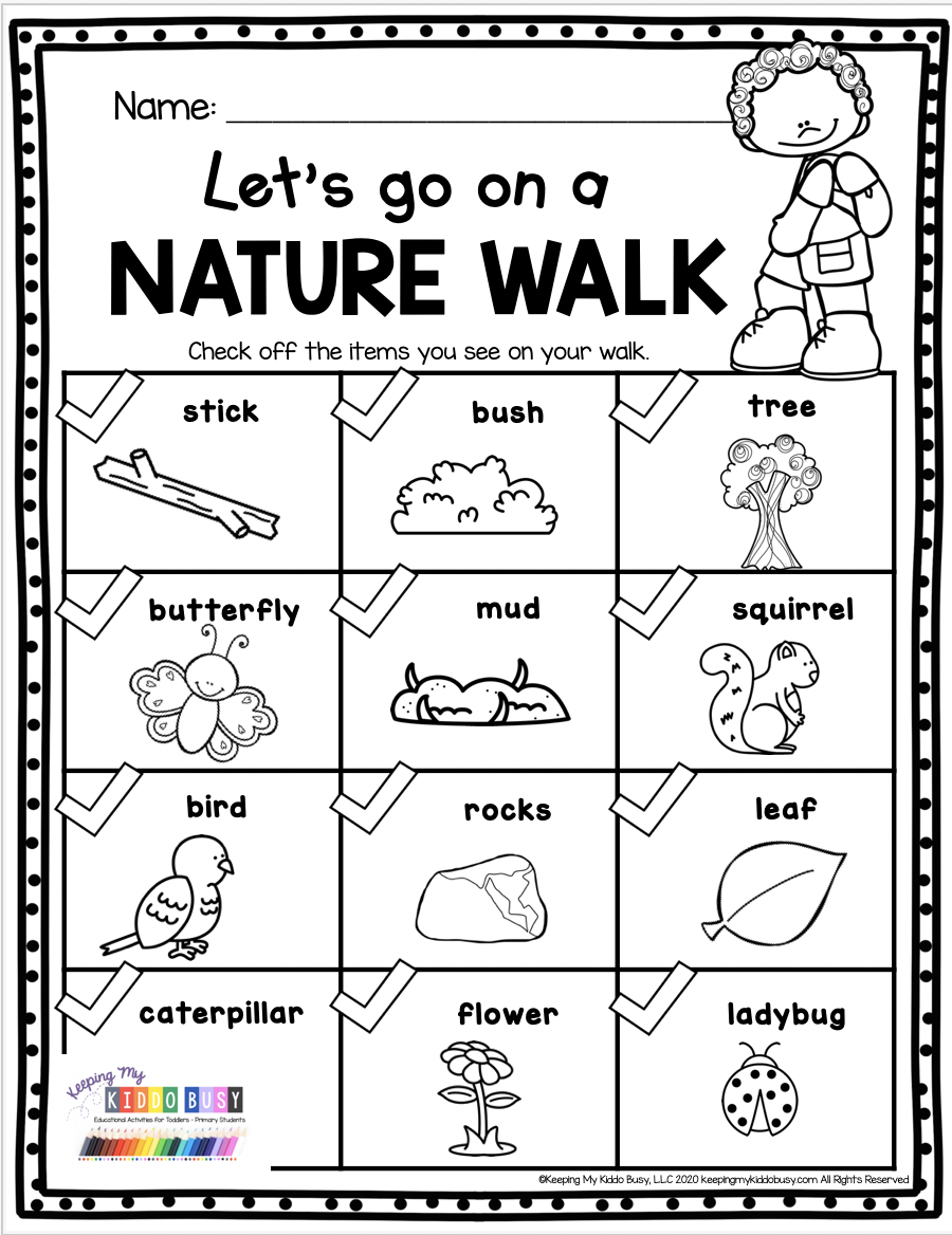 NATURE WALK printable for kids - kindergarten and first grade activities for summer