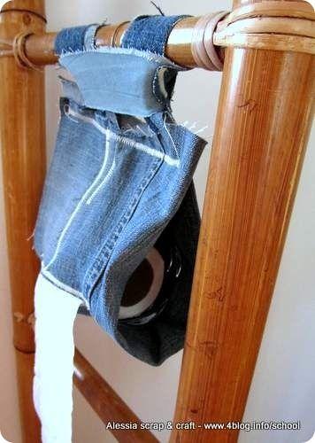Un porta rotolo di carta igienica fatto di jeans riciclato craft toilet paper paper e crafts - Porta carta igienica ikea ...