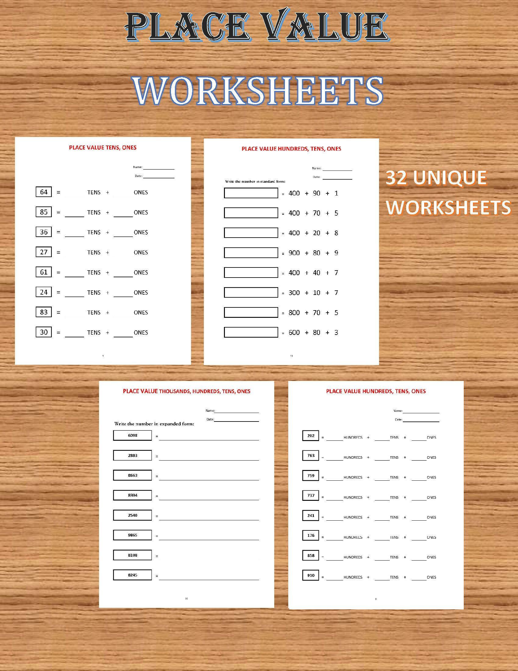 Place Value Worksheets 32 Worksheets Pdf Year 1 2 3 Etsy Place Value Worksheets Kids Math Worksheets Math For Kids [ 2200 x 1700 Pixel ]