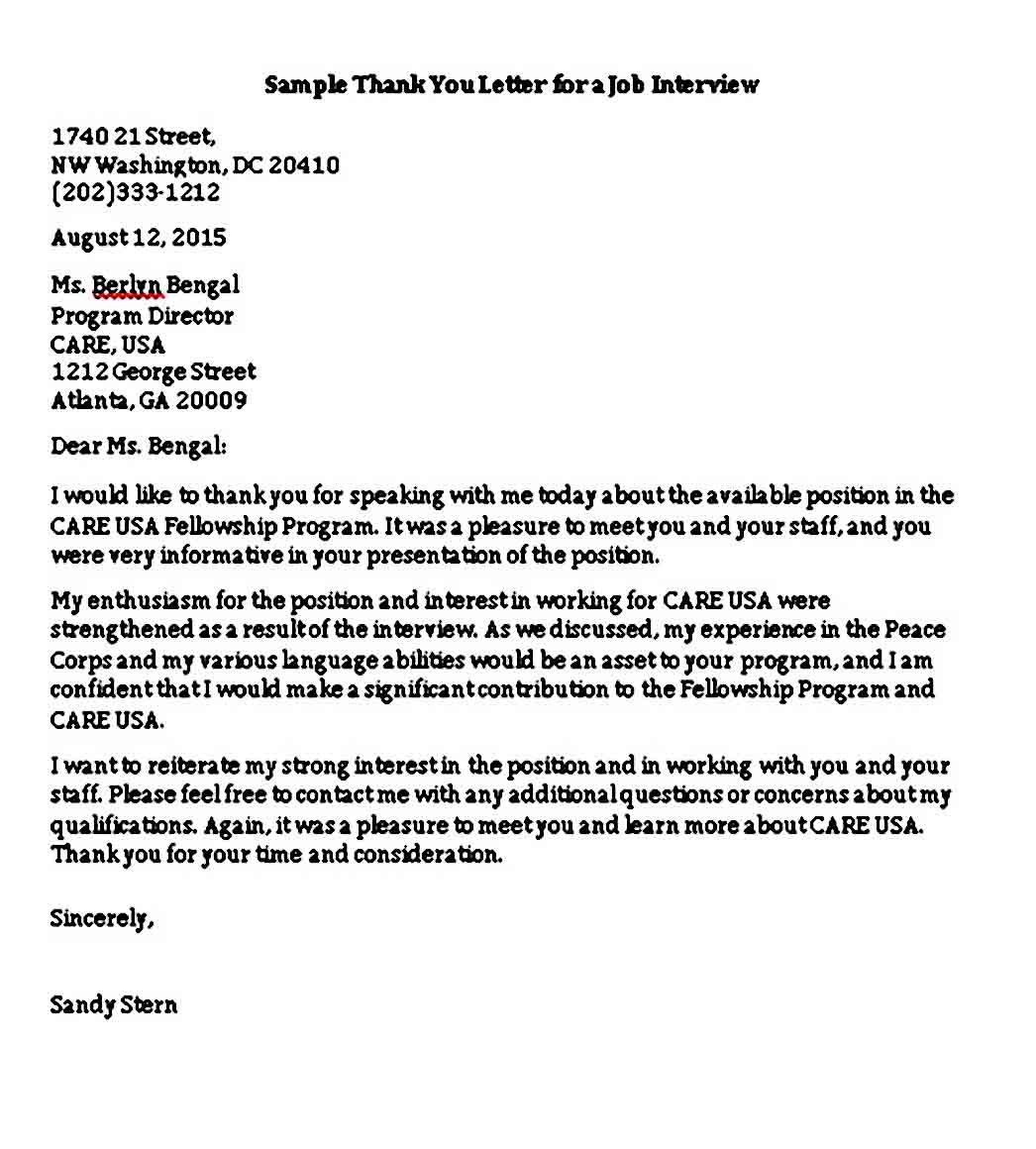 6 sample job interview thank you letter template