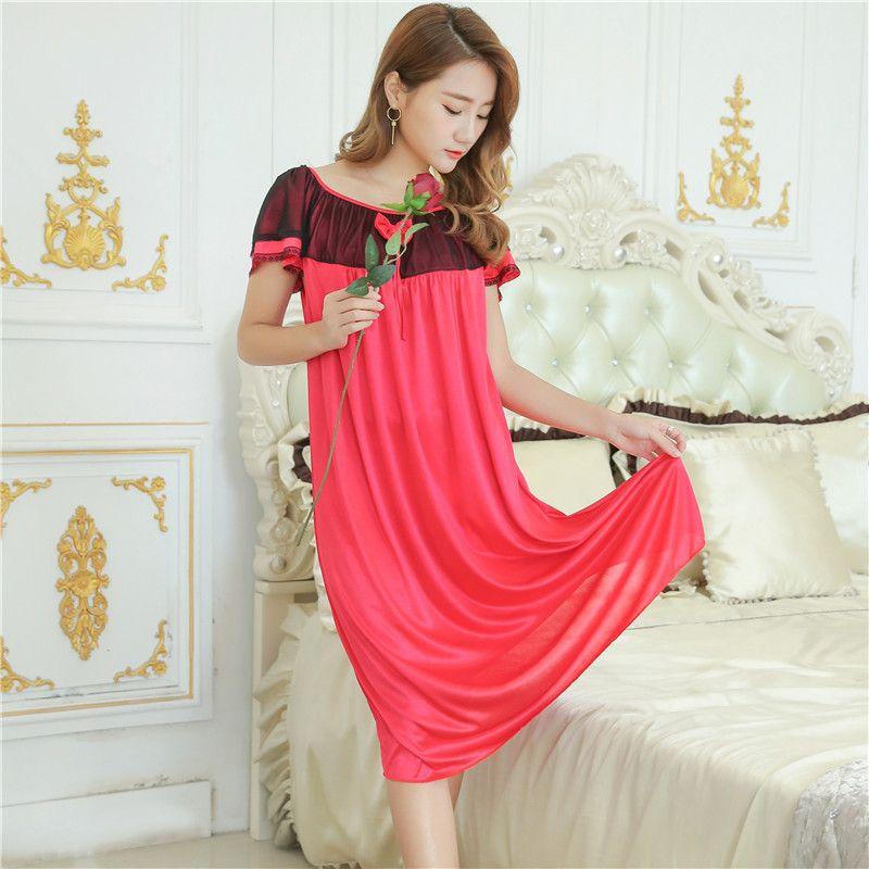 e75e61b51cfa Wholesale Summer ice silk dress sexy female short Nightgown plus size MM  sleepshirts women Home clothing woman loose nightdress
