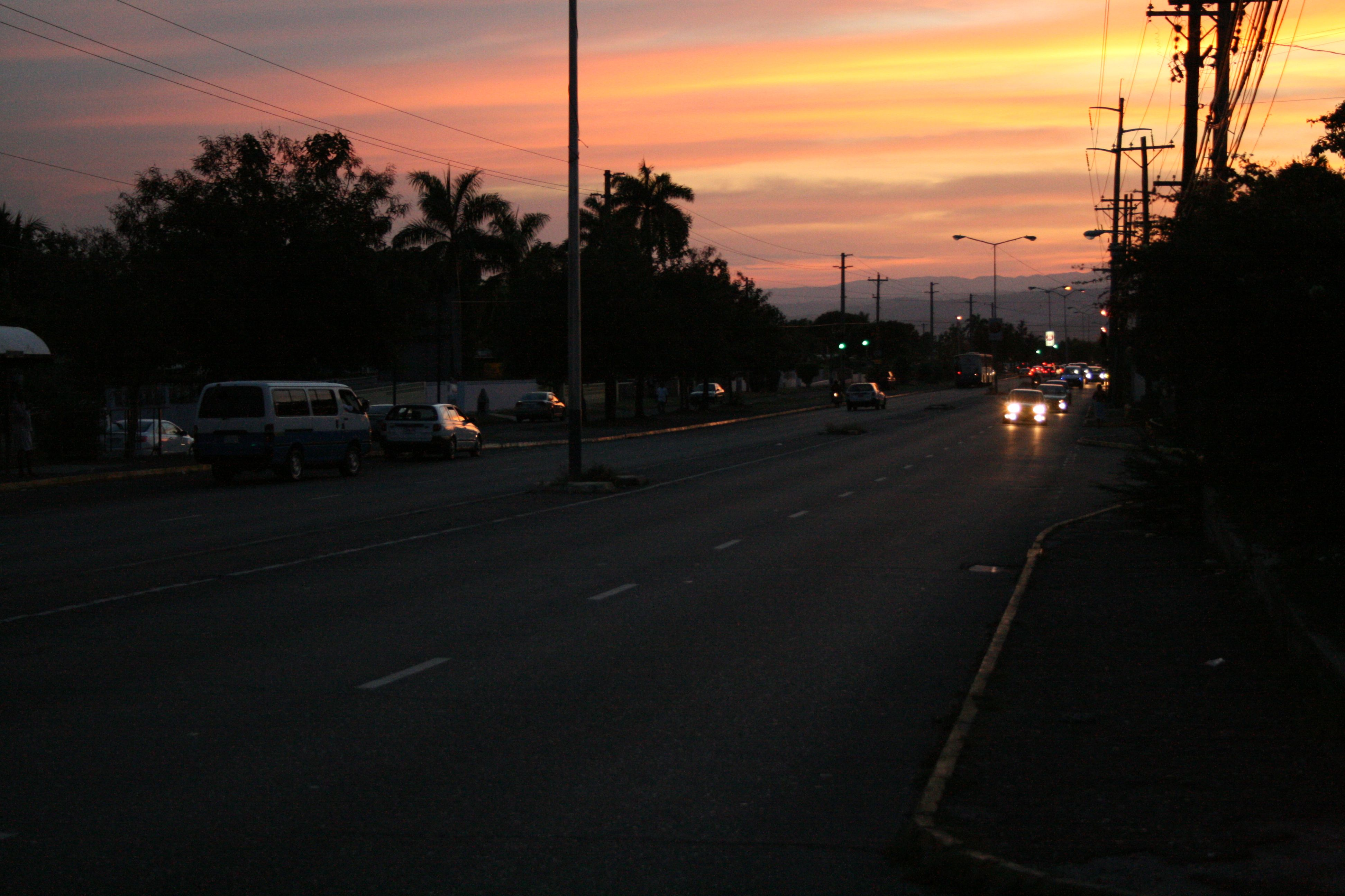 Sunset when leaving school. University of Technology, Papine Campus, St. Andrew, Jamaica