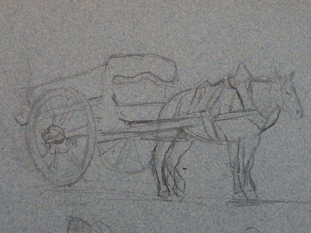 Gauguin charrette tir e par un cheval et paysanne - Charrette dessin ...