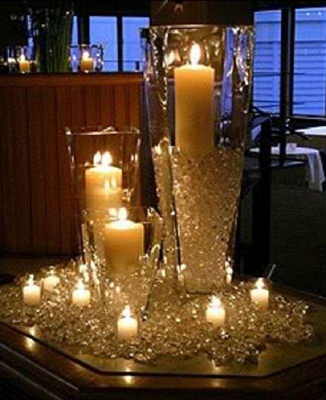 Diamond Confetti Table Centerpiece Candle Wedding Centerpieces Wedding Candles Candles