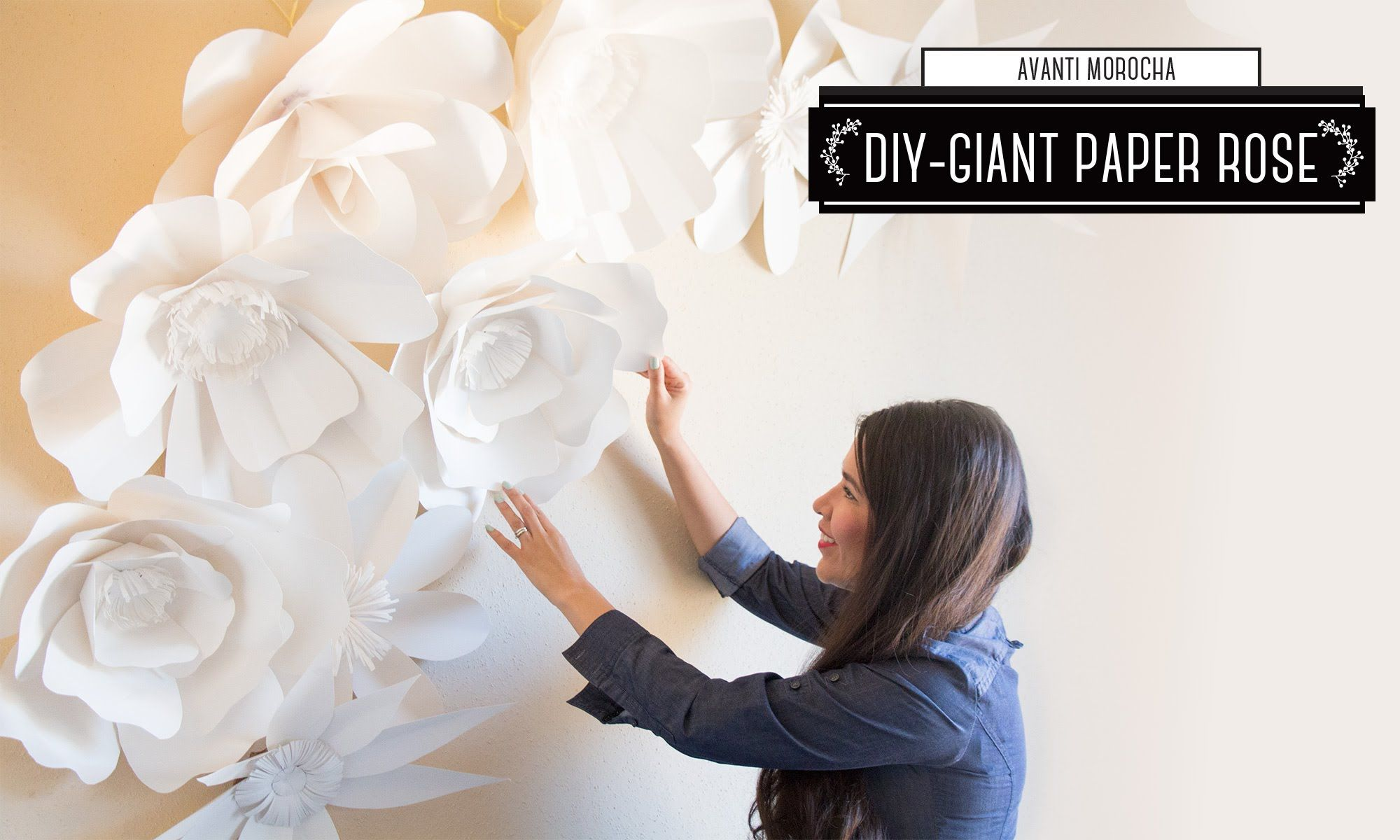 DIY How to Make a Giant Paper Flower Backdrop  Rose  Mural de