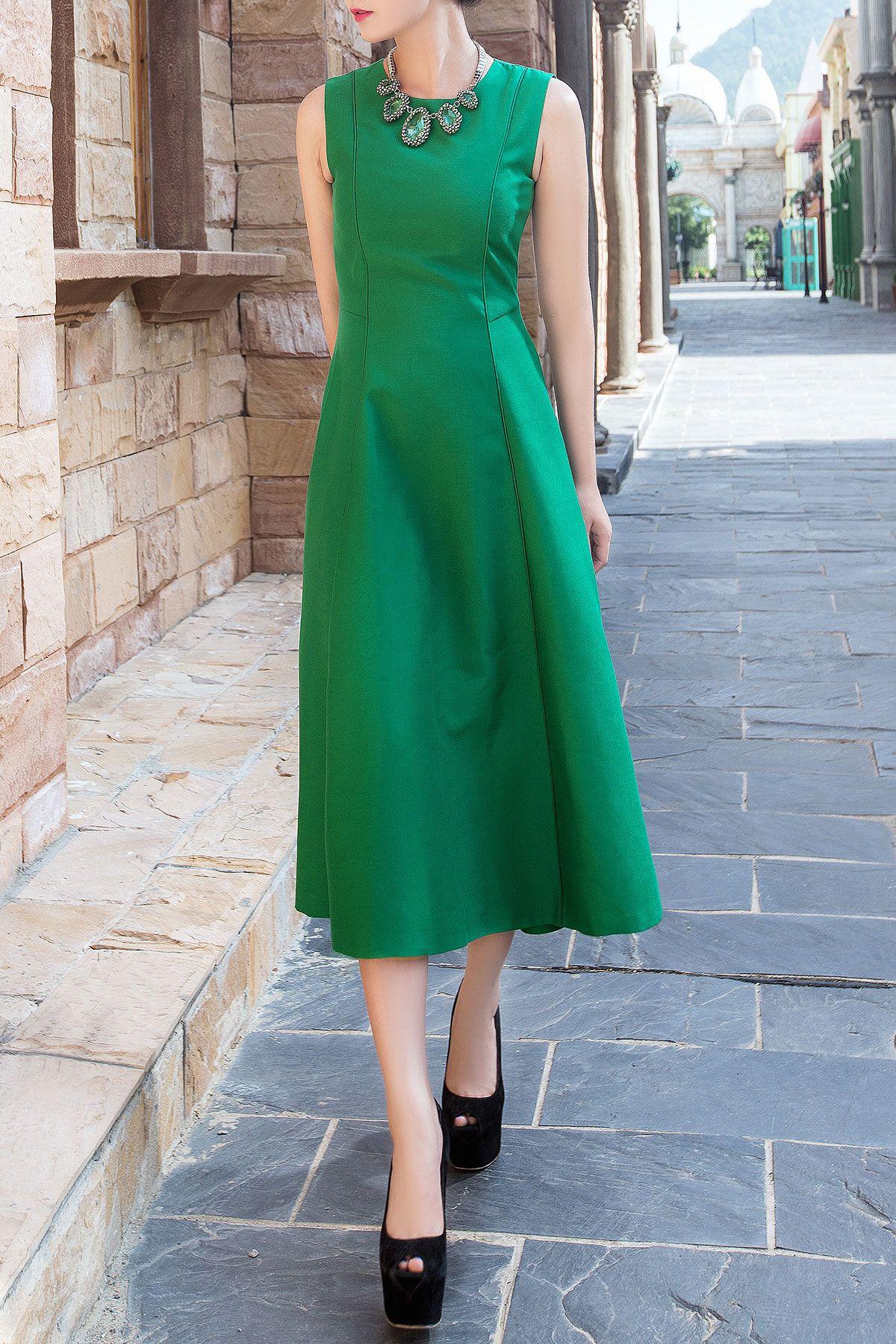 Zip Up Pure Color Tank Dress