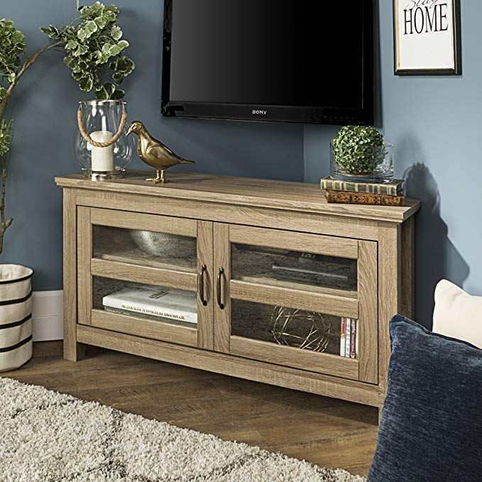 New 44 Inch Wide Corner Television Stand Driftwood Finish Review