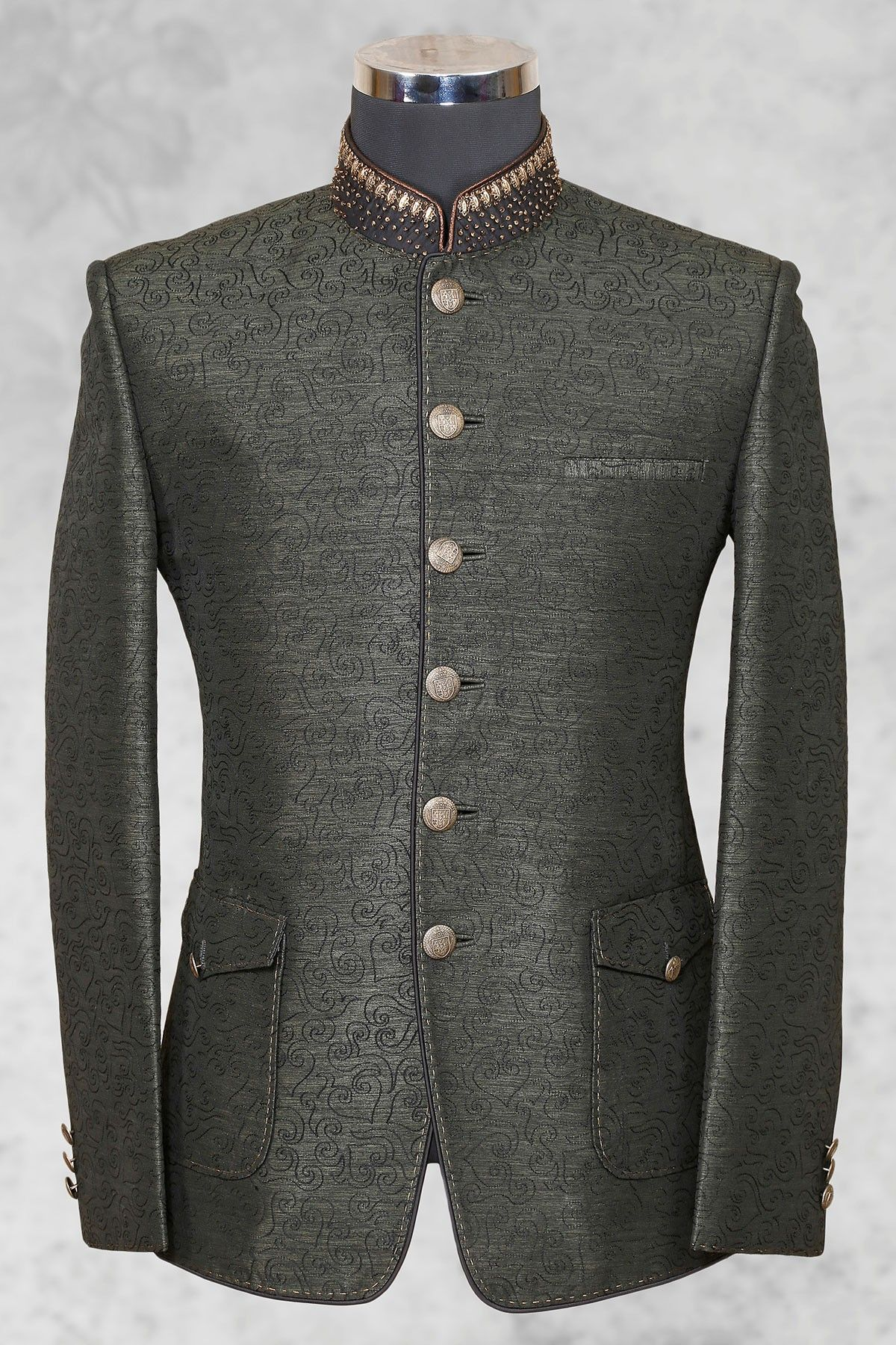 34ab9a5f85 Grey graceful #raw silk suit with bandhgala collar-ST476   Samyakk ...