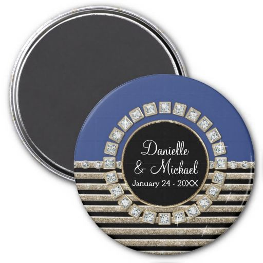 Art Deco Modern Horizontal Stripe Glitter Look Magnets