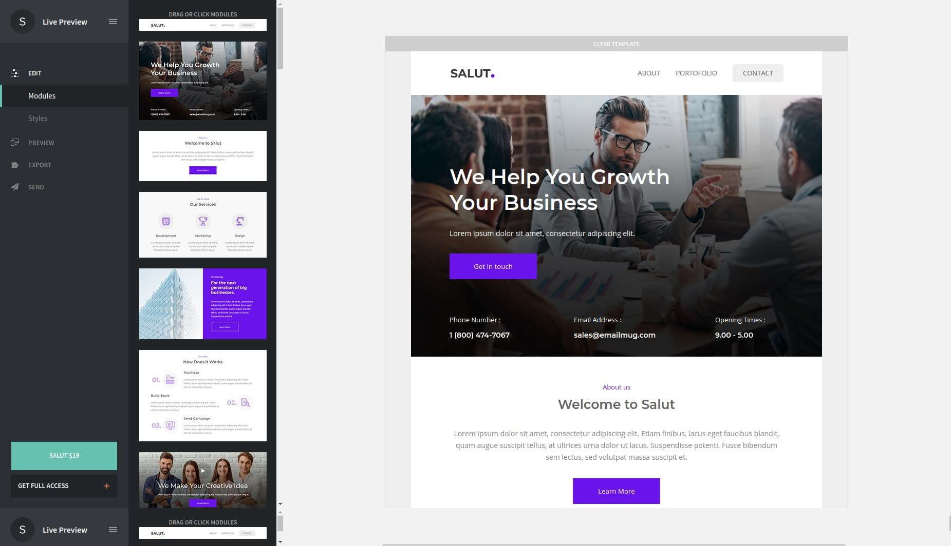 Salut Professional Agency Email Template Stampready Builder