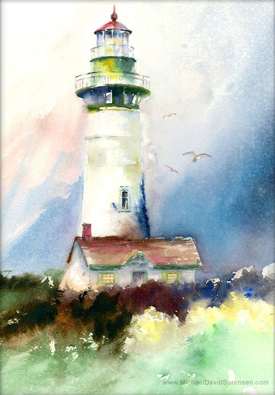 Lighthouse Watercolor Print Yaquina Head Light Oregon Coast