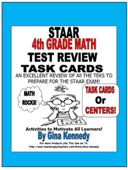 4th GRADE MATH STAAR CLASS REVIEW, CENTERS, TASK CARDS, 10