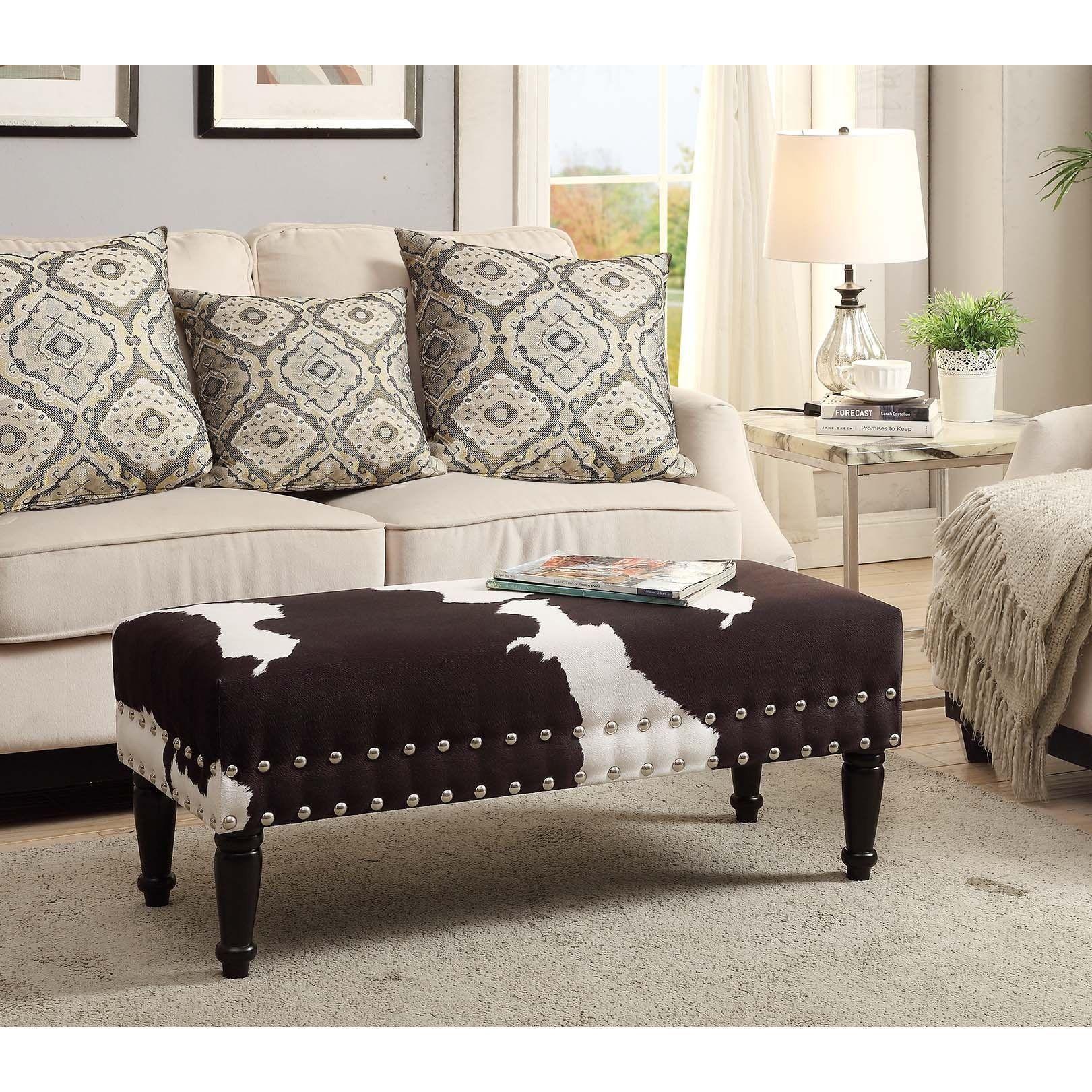 Convenience Concepts Designs 4 Comfort Faux Cowhide Bench (Black ...