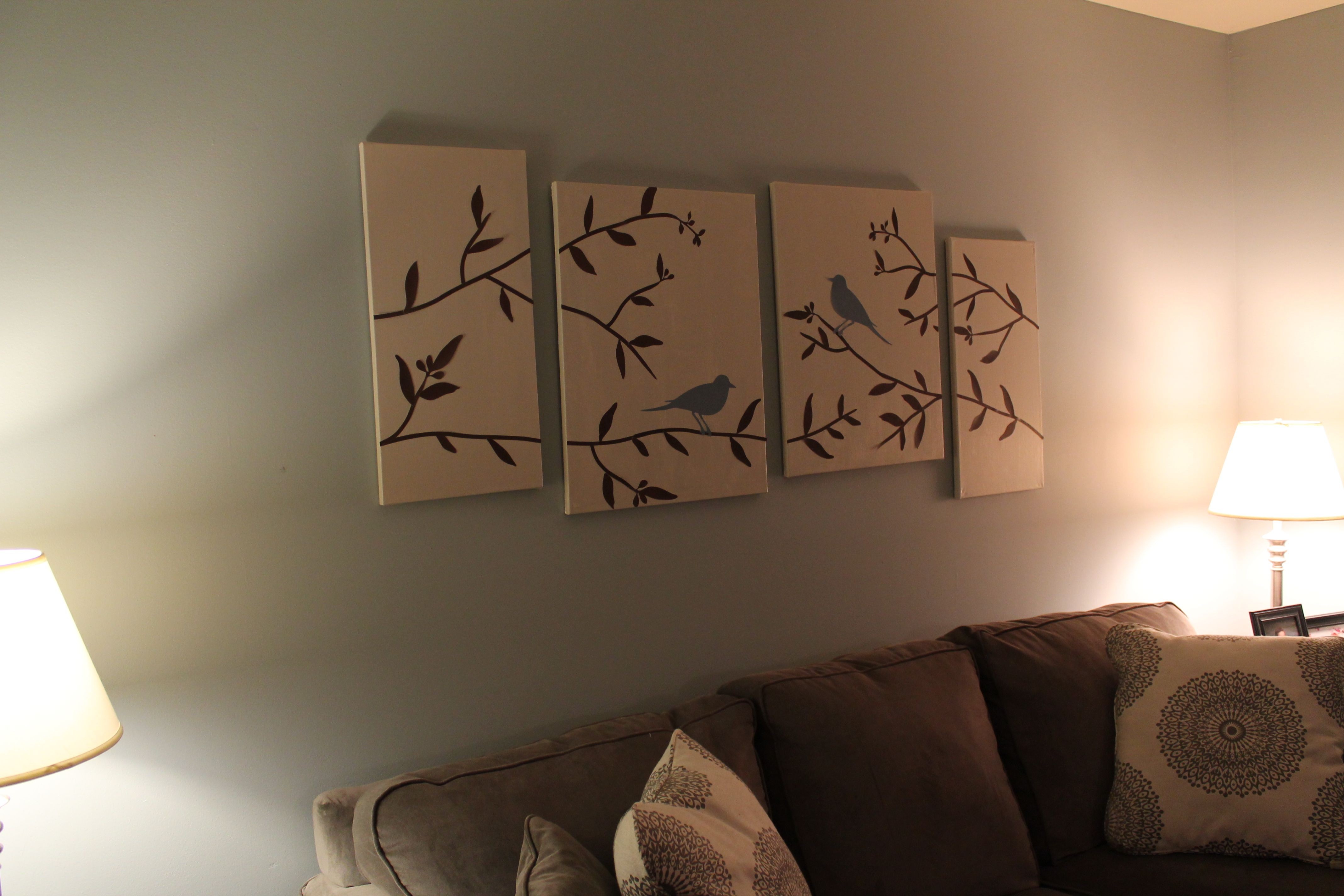 Diy Canvas Art For Living Room Ikea Design Easy Painting Ideas Wall Your Birds Branches