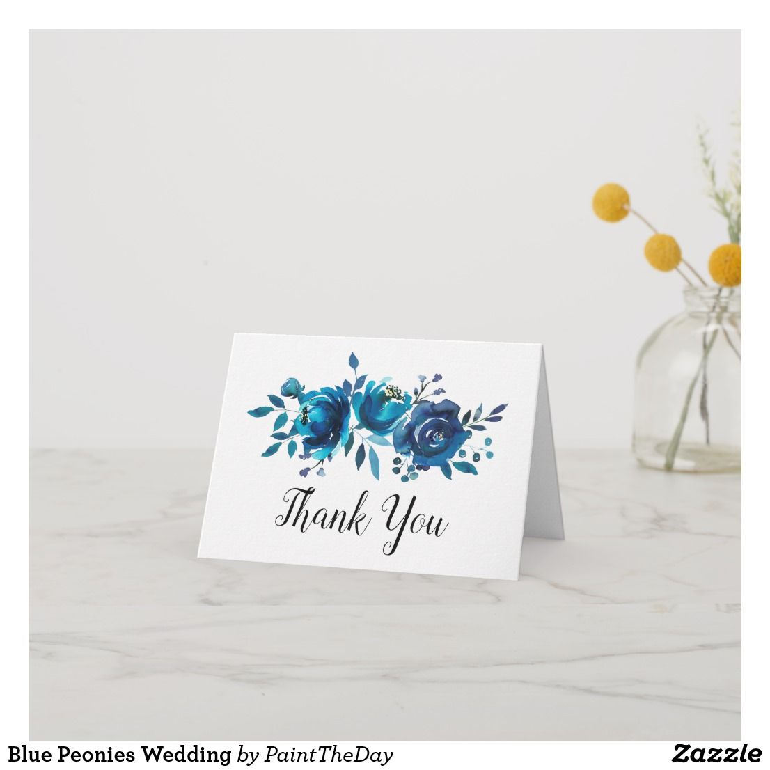 Blue Peonies Wedding Thank You Card | Zazzle.ca #bluepeonies
