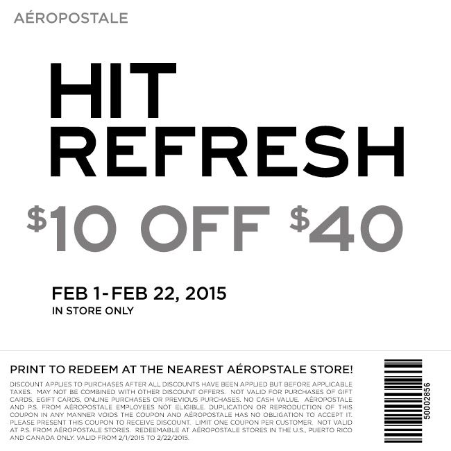 Pinned February 3rd 10 Off 40 At Aeropostale Also 50 Off Aero Online Coupon Via The Coupons App Free Printable Coupons Printable Coupons Aeropostale