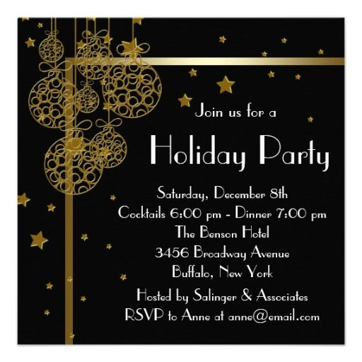 Elegant Black Gold Christmas Party Invitations