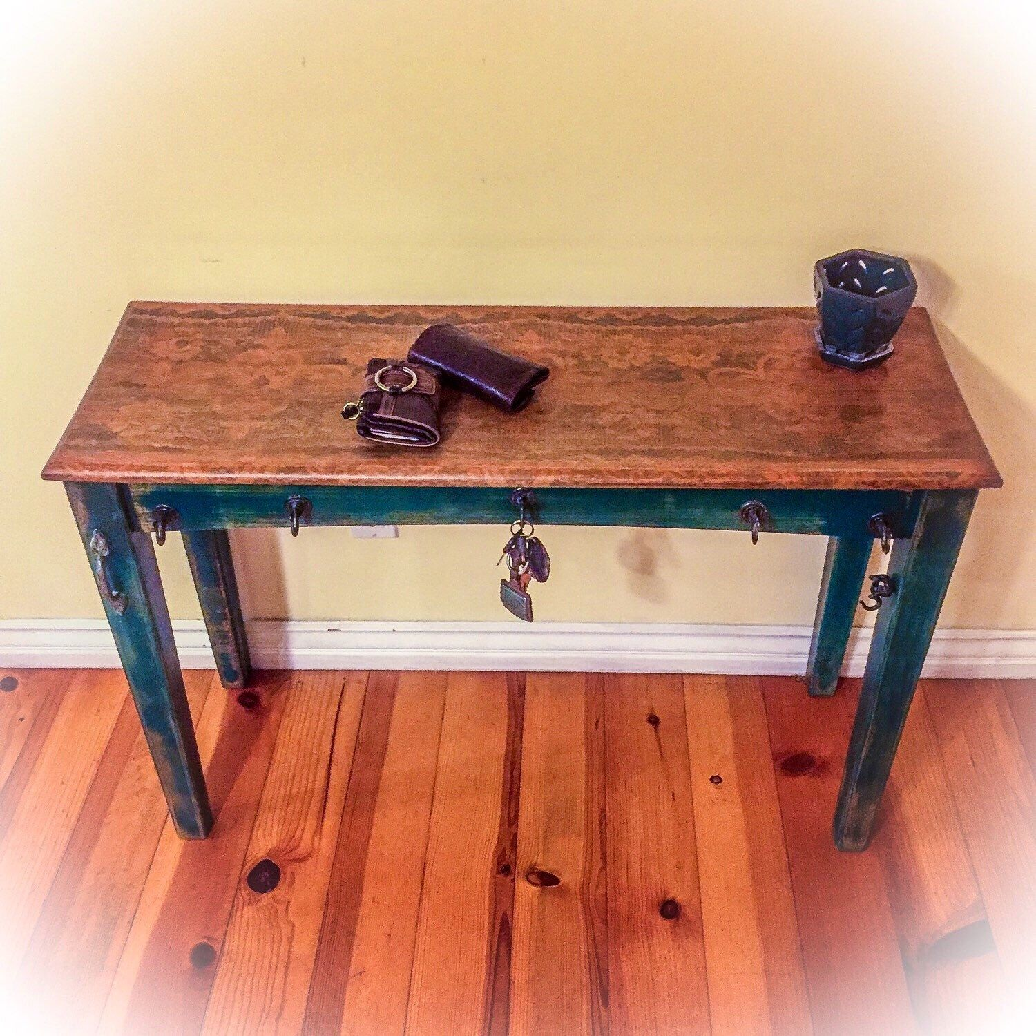 Antique Entryway Table sold - antique, farmhouse table, patina, hook accents, kitchen