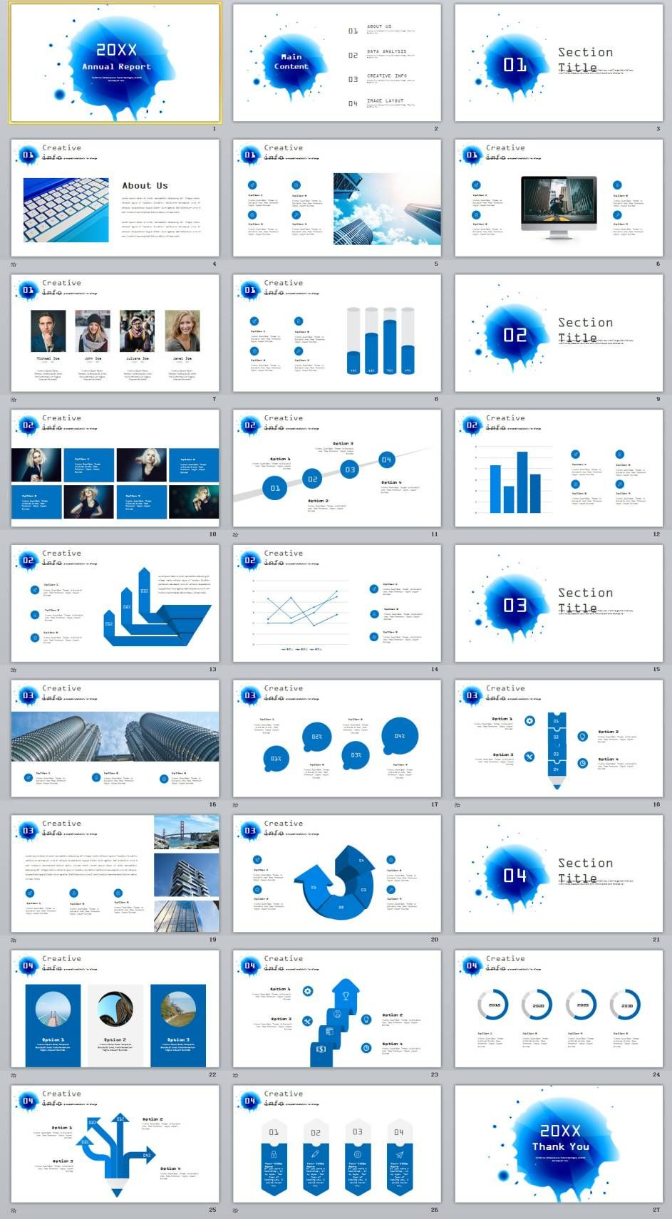 27 blue creative infographics annual powerpoint template