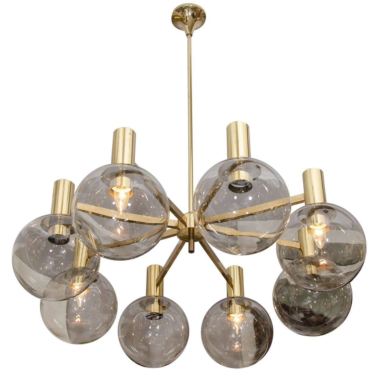 Hans Agne Jakobson Smoke Glass Globe and Brass Chandelier | From a unique collection of antique and modern chandeliers and pendants at https://www.1stdibs.com/furniture/lighting/chandeliers-pendant-lights/