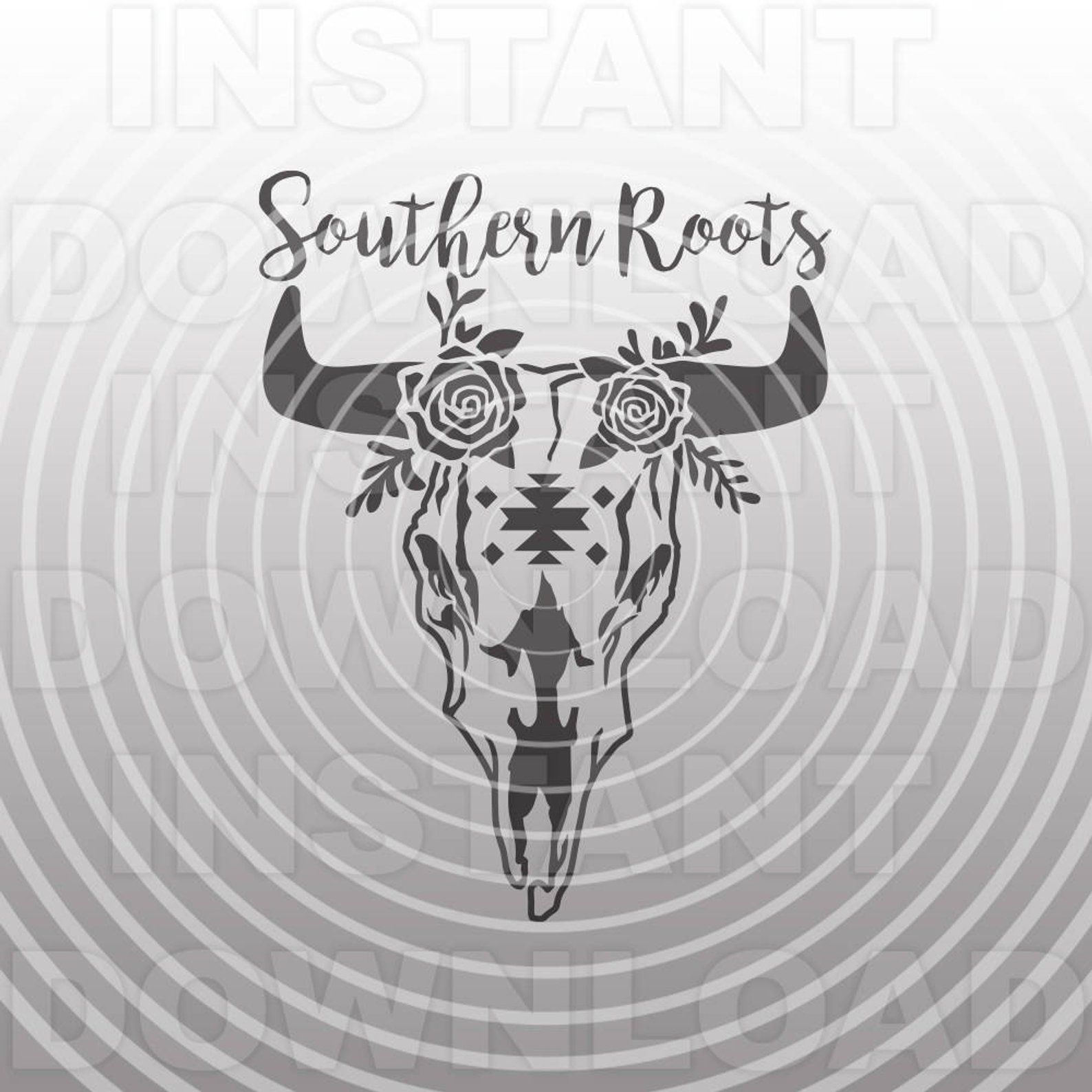 Southern Roots Decorative Cow Skull SVG File Personal