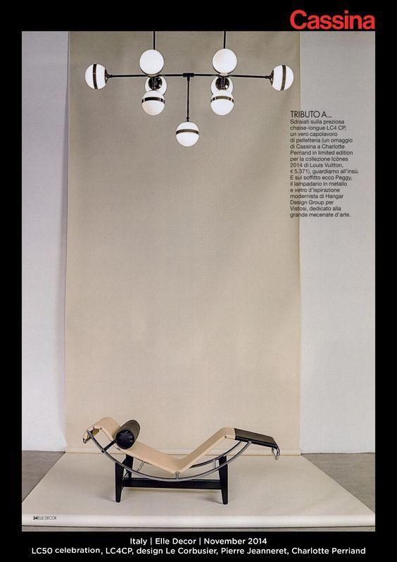 Italy | Elle Decor | November 2014 | LC50 celebration, LC4CP, design Le Corbusier, Pierre Jeanneret, Charlotte Perriand| Discover more on:http://cassina.com/it/collezione/poltrone-e-divani/lc4-cp: