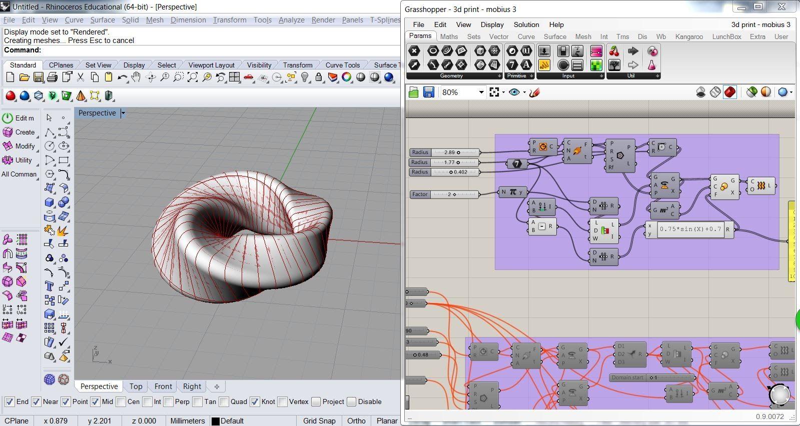 Grasshopper Tutorial - Mobius 1   modeling   Grasshopper 3d