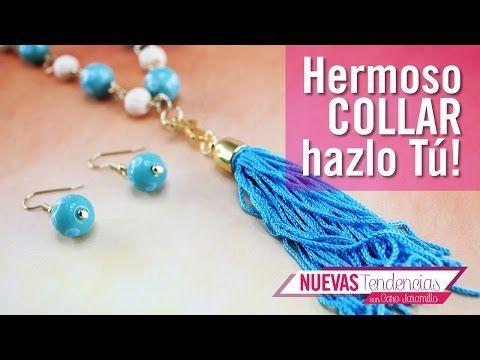 2dbf71804578 Como hacer un collar IG azul aguamarina kit 23262 - YouTube Cómo Hacer  Aretes