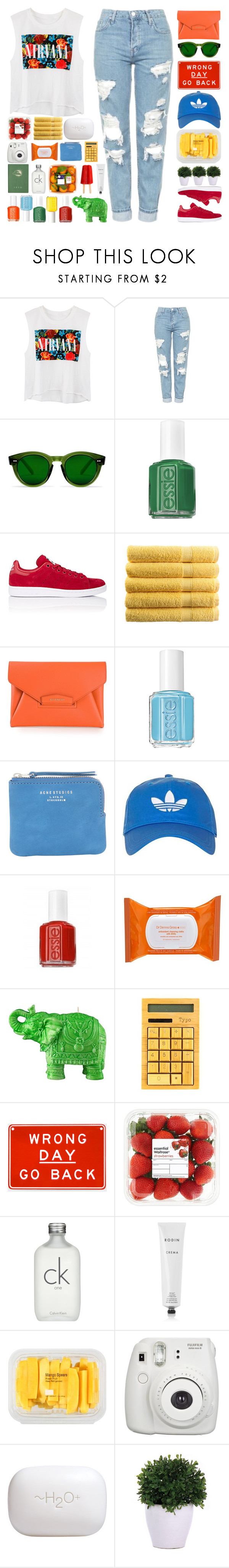 """""""Courtney"""" by vandesousa ❤ liked on Polyvore featuring Topshop, Essie, adidas, Givenchy, Acne Studios, Dr. Dennis Gross Skincare, Mario Luca Giusti, Calvin Klein, Rodin and MANGO"""