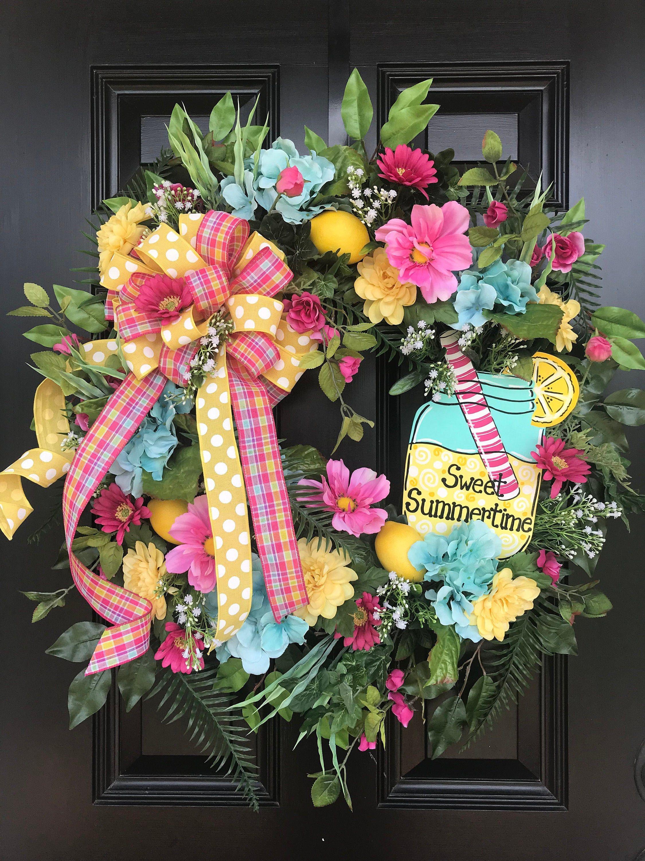 Summer Wreath For Front Door Summer Decor Front Door Wreath Lemonade Wreath Colorful Wreath Sweet Summertime Yellow Wreath Spring Wreath Summer Wreath Diy