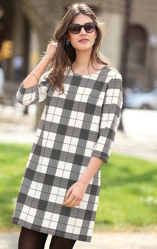 b0fe7abed14 Robe courte manches 3 4 à carreaux femme Exclusivité 3SUISSES - Carreaux  Noir