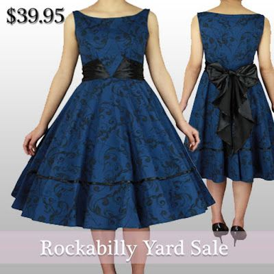 BlueBerryHillFashions: Rockabilly Blue and Black Floral Swing Dress | Size 18 | Only $39.95