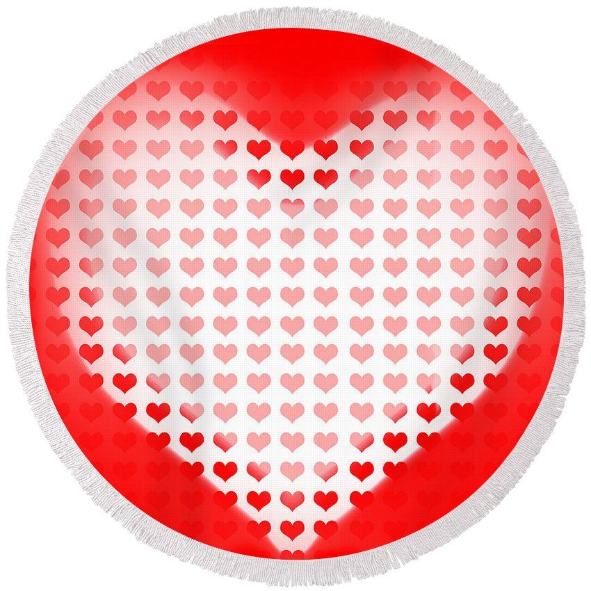 Red Hearts Round Beach Towel featuring the photograph Love Of Valentines Background. Big Red Heart by Jorgo Photography - Wall Art Gallery
