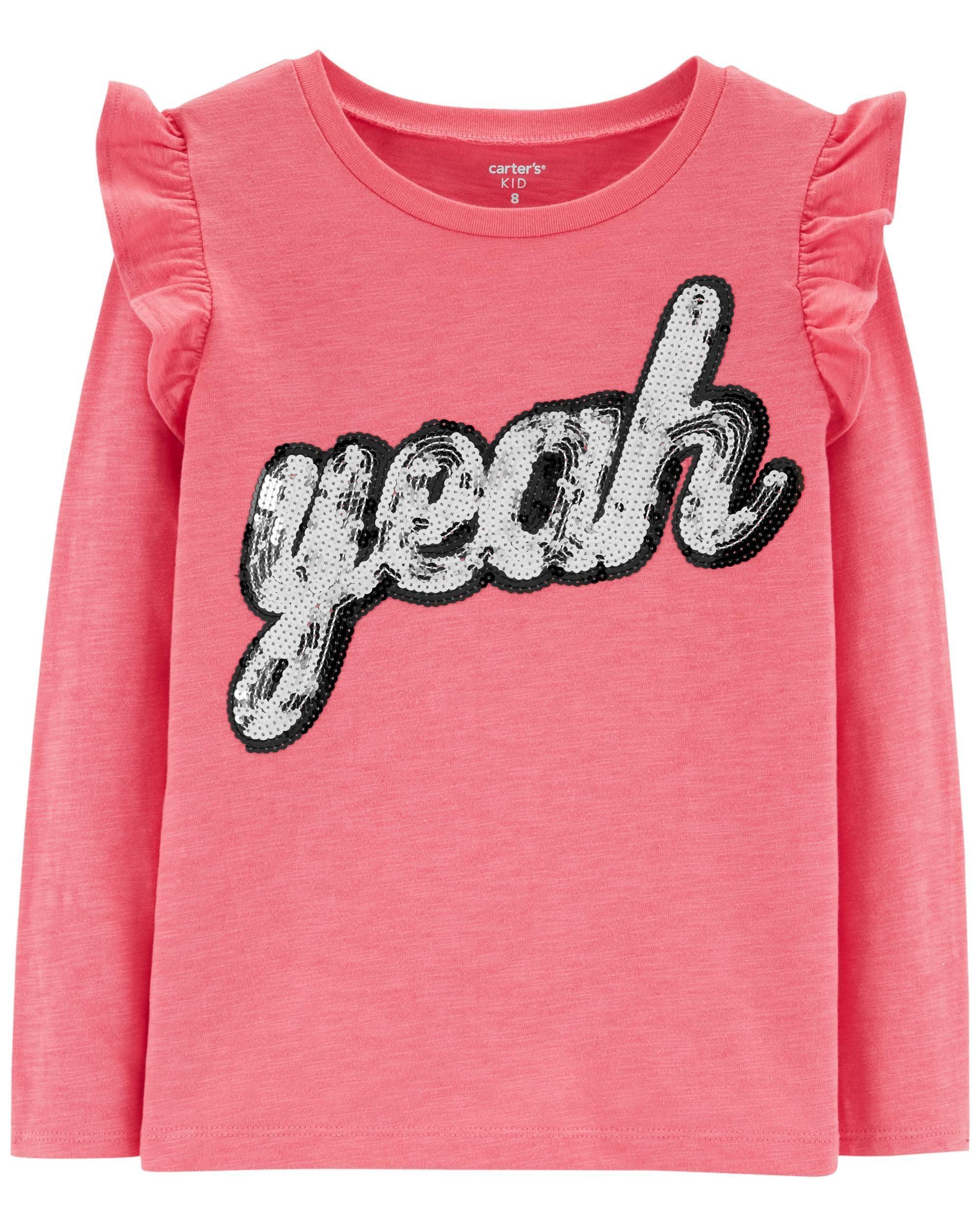 e7f9275b9 Sequin Slogan Slub Top | Wear It | Kids girls tops, Tops, Carter kids