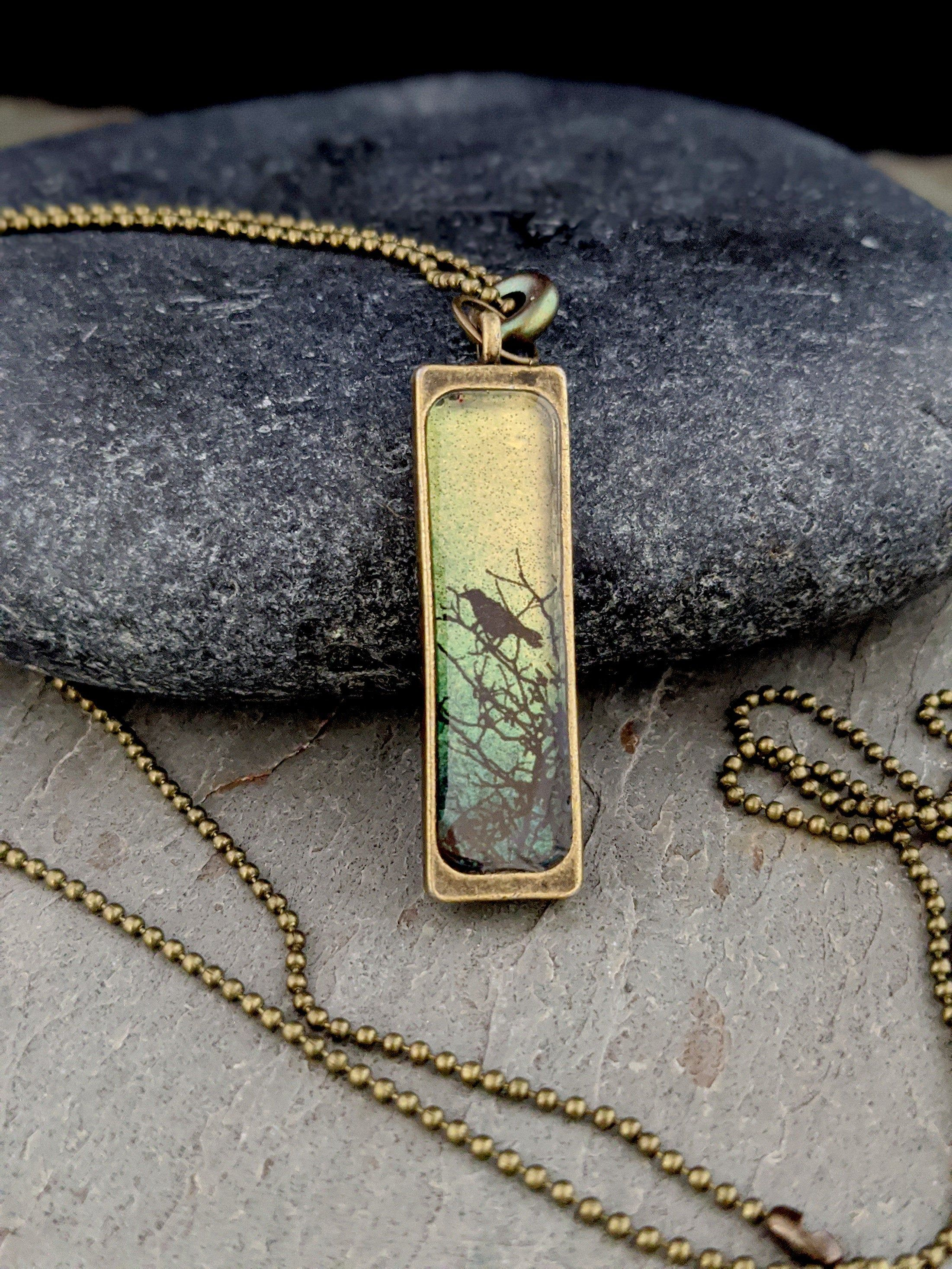 Rectangle Alcohol Ink Pendant in Antique Brass
