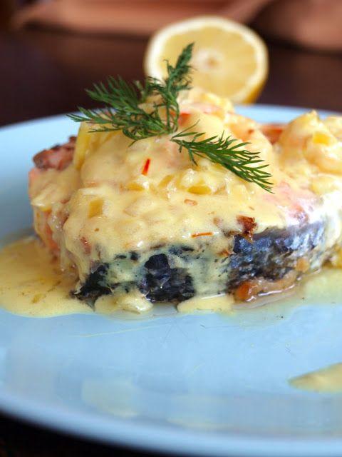 salmon with saffron sauce