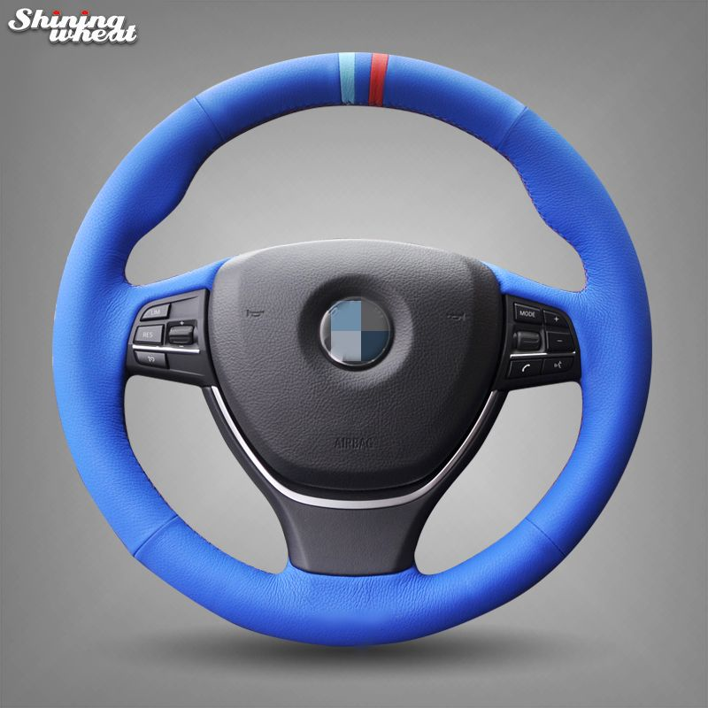 Blue Leather Hand Stitched Steering Wheel Cover For Bmw F10 2014 520i 528i 2013 2014 730li 740li 750li Steering Wheel Cover Steering Wheel Wheel Cover