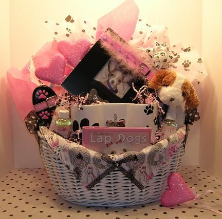 Glam Gift Basket For A Mom Who Can Afford Everything She Wants But This Birthday Basket Was For Dog Birthday Gift Puppy Gift Basket Auction Gift Basket Ideas