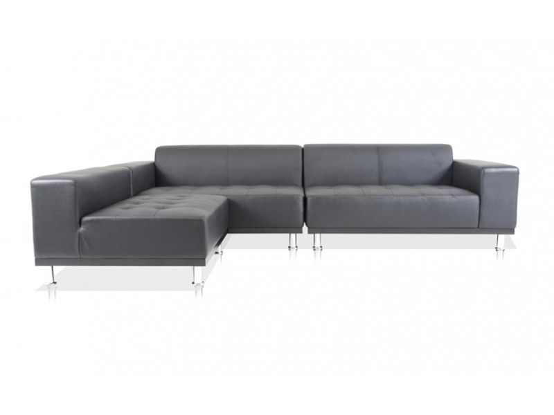 Modani Modern Contemporary Black Leather Sectional Sofas 1390
